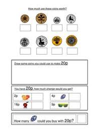 maths activity to emphasis the value of coins children have to