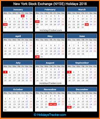 new york stock exchange nyse holidays 2016 holidays tracker