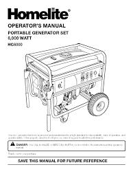 homelite hg6000 generator gasoline mains electricity