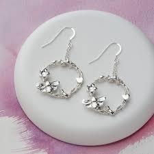 silver drop earrings springtime silver drop earrings grace jewellery
