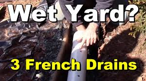 wet yard 3 french drains to help dry it out diy for homeowners