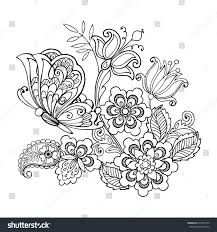 hand drawn flowers butterflies anti stress stock vector 673799149