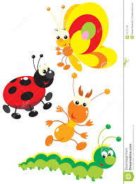 butterfly termite ladybug and caterpillar royalty free stock