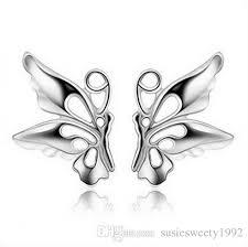 2018 butterfly stud huggie earrings pierced ears