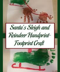 santa s sleigh and reindeer handprint footprint craft parenting patch