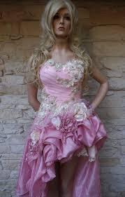custom handmade wedding dress mini plus tail pink by arabescque
