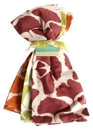 fair trade cotton tea towels set of 3 gingko or maidenhair