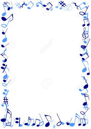 illustration of a frame made of blue musical notes stock photo