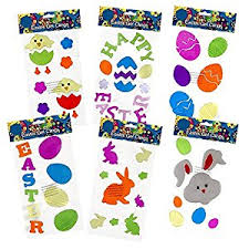 Easter Decorations On Amazon by Amazon Com 6 Easter Window Gel Clings Includes Bunnies Eggs