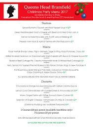 the queens head christmas party menu