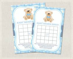baby shower bingo blue teddy bear bingo instant download printable