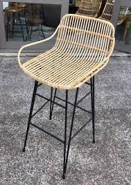 wicker bar stools synthetic rattan bar stool with teak wood legs