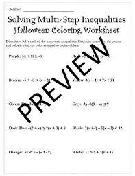 1 and 2 halloween coloring activity halloween algebra inequalities