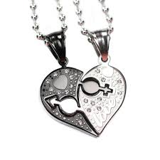heart couple necklace images Sweet love heart shape cz inlaid stainless steel couple necklace JPG