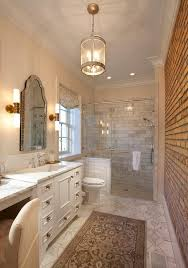 exposed brick wall lighting long bathroom with exposed brick walls and corsica lantern