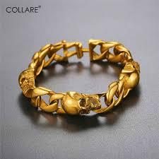 bracelet gold skull images Collare skull bracelet men stainless steel halloween jewelry punk jpg
