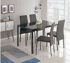 Black Glass Dining Table And 4 Chairs Mesmerizing Buy Hygena Lido Glass Dining Table 4 Chairs Black At