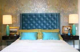 Gold And Blue Bedroom Turquoise Headboard Design Ideas