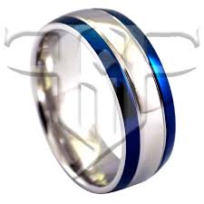 Stainless Steel Wedding Rings by Blue Fashion Ring Silver Stainless Steel Wedding Band