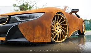 wrapped cars mahone u0027s rust wrapped bmw i8 with vossen wheels gtspirit