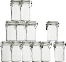 kitchen glass canisters with lids set of 12 oval cl top spice herb jars in kitchen storage