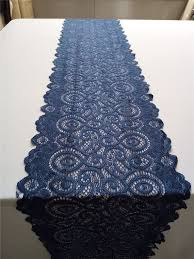 cobalt blue table l navy blue table runner lace table runner wide by welltrimmed blue