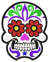 sugar skull embroidery design to fit 4x4 5x7 and 6x10