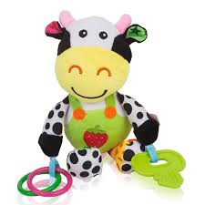 amazon com zig zag kid musical cow soft plush baby rattle with