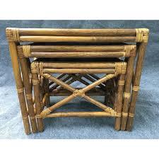 vintage rattan nesting tables vintage rattan nesting tables set of 3 chairish