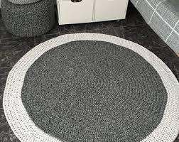 Grey Round Rug Light Beige Crochet Round Rug Baby Rug Play Mat Nursery