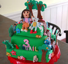 party decoration and birthday cake in dora birthday party ideas