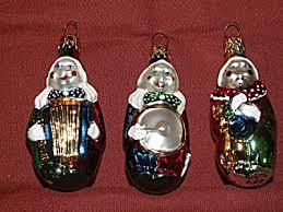 3 vintage glass ornaments clowns musical