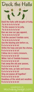 printable lyrics print deck the halls christmas song lyrics bookmark