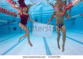 Inside Swimming Pool Woman Portrait Wearing Black Inside Stock Photo 462969127
