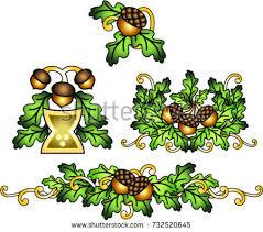 celtic oak leaves stock vector 732520645