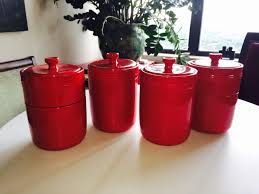 find more four red ceramic kitchen canister from dillard u0027s for
