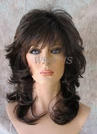 wigs medium length feathered hairstyles 2015 brown with auburn medium wavy choppy multi layers bangs volume