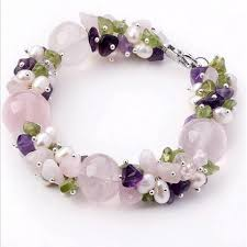 bracelet stone beads images Natural pink quartz amethyst peridot and freshwater pearls bracelet jpg