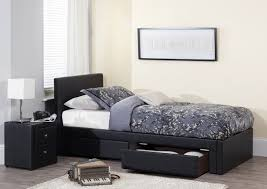 serene latino 3ft single black faux leather bed frame by serene