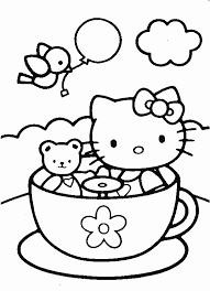 Hello Kitty And Teddy Bear In Tea Cup Coloring Page Cup Coloring Page