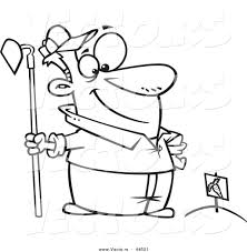 vector of a proud cartoon man standing with a hoe over planted