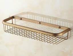 45cm antique brass bathroom wall mounted basket shower caddy wire