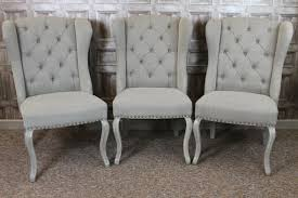 French Linen Armchair French Upholstered Dining Chairs In Cream Linen