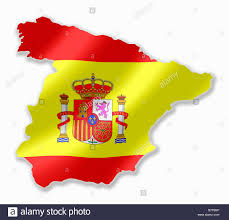 spain spanish country map outline with national flag inside stock