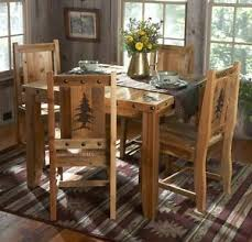 Rustic Wood Kitchen Tables - rustic kitchen table set country western log cabin wood