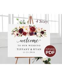 wedding welcome sign template pre black friday sales on marsala wedding welcome sign editable