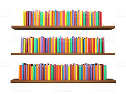 Background Bookshelf Colorful Books On Bookshelf Isolated On White Background Stock