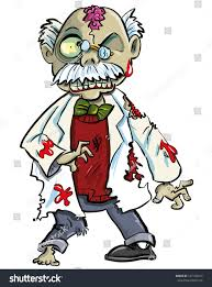 lurching zombie spirit halloween cartoon zombie scientist brains showing isolated stock vector