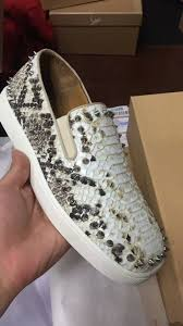 christian louboutin pik boat spikes white snake low sneakers