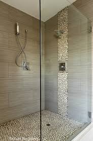 river rock bathroom ideas cool wood grain porcelain shower and river rocks stephen belyea
